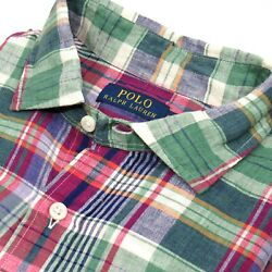 Polo Menand039s Madras Plaid Shirt 100 Linen Green-multi Size Large