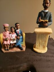 Vintage African American Church family and Preacher resin Figurines lot of 2