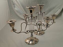 Pair Harp Shape Piano Candle Sticks Silver Plated C-1850 Old Sheffield Antique