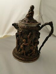 Beer Stein, Silver Plated, Copper Body, Fantastic Work, 1850 Victorian English