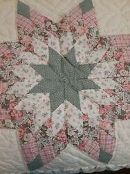 Vtg Handmade 8 Point Star Quilt Full Queen Bed Cover 78 X 78 Arch Quilts