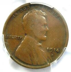 1914-d Lincoln Wheat Cent 1c - Certified Pcgs F12 - Rare Key Date Penny