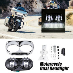 Dual Led Projector Headlight Assembly For Harley Road Glide Ultra Fltru 2011-13