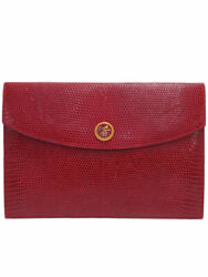 Hermes Gold Fittings Vintage Carriage Wood Button Pochette Rio Women 's C _48879