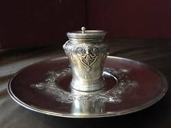 Travelling Inkwell Large-sterling Silver Antique C.1840 Antique Georgian