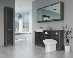 Bathroom Fitted Furniture 1500mm Anthracite Gloss / Mali Wenge D1 With Wall And Ta