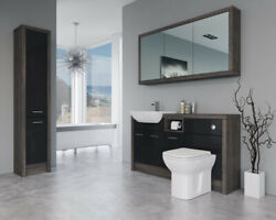 Bathroom Fitted Furniture 1500mm Black Gloss / Mali Wenge D1 With Wall And Tall Un