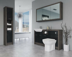 Bathroom Fitted Furniture 1500mm Black Gloss / Mali Wenge D2 With Wall And Tall Un