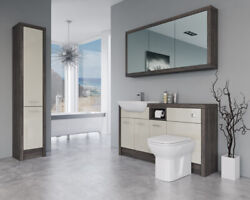 Bathroom Fitted Furniture 1500mm Cream Gloss / Mali Wenge D1 With Wall And Tall Un