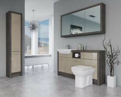 Bathroom Fitted Furniture 1500mm Cappucciono Gloss / Mali Wenge D1 With Wall And T