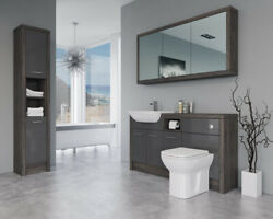 Bathroom Fitted Furniture 1500mm Dark Grey Gloss / Mali Wenge D2 With Wall And Tal