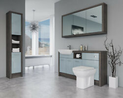Bathroom Fitted Furniture 1500mm Duck Egg Blue Gloss / Mali Wenge D2 With Wall And