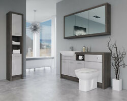 Bathroom Fitted Furniture 1500mm Light Grey Gloss / Mali Wenge D2 With Wall And Ta
