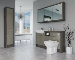 Bathroom Fitted Furniture 1500mm Metallic Latte Gloss / Mali Wenge D1 With Wall