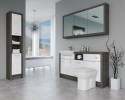 Bathroom Fitted Furniture 1500mm White Gloss / Mali Wenge D2 With Wall And Tall Un