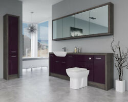 Bathroom Fitted Furniture 2200mm Aubergine Gloss / Mali Wenge D5 With Wall And Tal