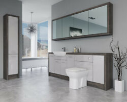 Bathroom Fitted Furniture 2200mm Light Grey Gloss / Mali Wenge D5 With Wall And Ta