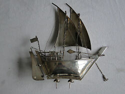 Miniature Boat, Sterling Silver, Beautiful Construction, Marked, Italy 1970,
