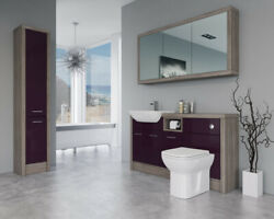 Bathroom Fitted Furniture 1500mm Aubergine Gloss / Driftwood D1 With Wall And Tall