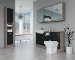 Bathroom Fitted Furniture 1500mm Black Gloss / Driftwood D2 With Wall And Tall Uni