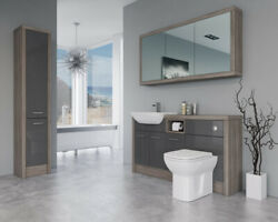Bathroom Fitted Furniture 1500mm Dark Grey Gloss / Driftwood D1 With Wall And Tall