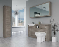 Bathroom Fitted Furniture 1500mm Driftwood D1 With Wall And Tall Unit - Bathcabz