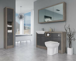 Bathroom Fitted Furniture 1500mm Dark Grey Gloss / Driftwood D2 With Wall And Tall