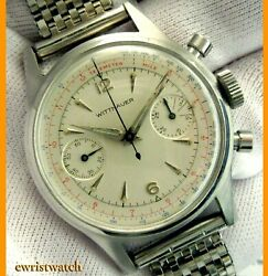 Vintage 50's Wittnauer Two Register Ss Chronograph 3256 Original Dial Good Cond