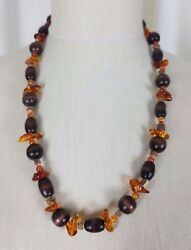 Vintage Single Strand Wood Orange Amber Color Lucite Resin Beads Beaded Necklace