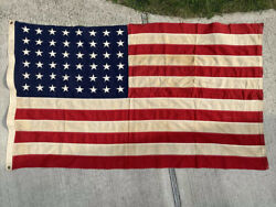 Vintage 48 Star Bulldog Bunting American Flag 55andrdquox32andrdquo Stitched Embroidered Usa