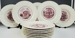 1941 Set Of 12 Wedgwood University Of Virginia Plates Complete First Edition Uva