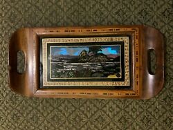 Antique Butterfly Wing Reverse Painting Glass Inlaid Wood Tray Rio De Janeiro
