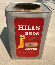 Vintage Hills Brothers Coffee 20 Lb Tin Container