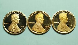 1979-s T1 1980-s 1981-s T1 Proof Lincoln Penny Deep Cameo Brilliant Uncirculated
