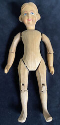 Vintage Swiss Carved Linden Wood Fully Jointed Doll