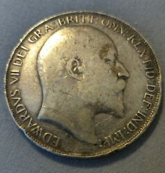1902 Great Britain Uk Edward Vii Silver Crown Coin Rare Large Silver Crown