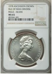 Er099 1978 Crown Silver Ascension Island Isle Of Man Mule Ngc Ms65