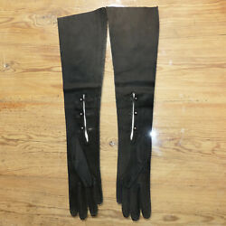 Womenand039s Gloves Leather Manco Fernze Italian Suede Long Black 18 Usa Seller