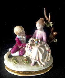 Capodimonte Italian Porcelain Lace And039boy And Girl Seated By A Treeand039 Figural Group