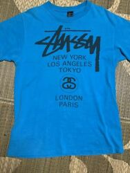 Stussy World Tour Old T-shirt Size Blue Glossy Black Tag 80s