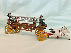 Vintage Cast Iron Toy Fire Wagon With 2 Ladder, 2 Horses, And 2 Firefighters