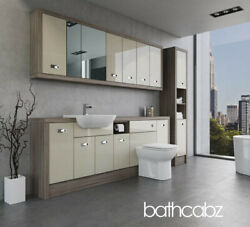 Bathroom Fitted Furniture Cream Gloss/driftwood A3 2200mm With Wall And Tall - Bat