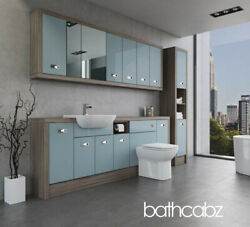 Bathroom Fitted Furniture Duck Egg Blue/driftwood A3 2200mm With Wall And Tall - B