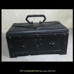 Antique Arts And Crafts Wrought Iron Strong Box / Document Box