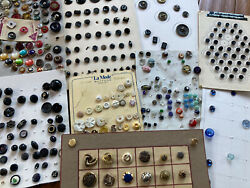 Huge Antique Vintage Lot Of 400+ Buttons On Collector Cards Lacy Glass Metal Pic