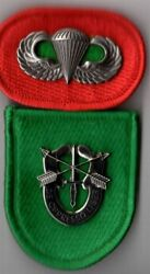 10th Special Forces Group - Beret Flash Di / Crest Oval Jump Wings Para Airb