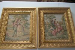 Pair Vintage Gilt Framed French Tapestries Figural From Paris 15x12 Glass Sale