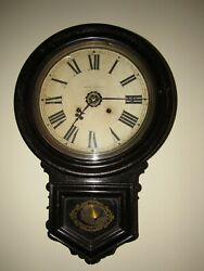 Antique Ansonia Wall Regulator Clock With Alarm 8-day, Time/strike