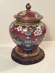 Antique Chinese Cloisonne Enamel Covered Vase Jar With Scholarand039s Eight Treasures