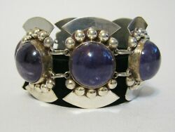 Early Vintage Mexican Silver Bracelet W Huge Amethyst Stones Signed 1940and039s